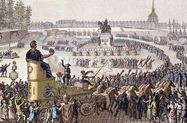 Premiere fete de la Liberte a l'occasion de la presence a Paris des Suisses de Chateau-Vieux le 15 avril 1792, sur la place LouisXV a Paris (Concorde) gravure de Jean Louis Prieur    ---  1st celebration of Liberty in Paris on april 15, 1792, engraving by  Jean-Louis Prieur