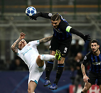 Football: UEFA Champions League -Group Stage - Group B - FC Internazionale Milano vs PSV Eindhoven, Giuseppe Meazza  (San Siro) Stadium, Milan Italy, December 11, 2018.<br /> Inter Milan's Captain Mauro Icardi (r) in action with PSV Eindhoven's Angelino (l) during the Uefa Champions League football match between Inter Milan and PSV Eindhoven at Giuseppe Meazza  (San Siro) Stadium in Milan on December 11, 2018. <br /> UPDATE IMAGES PRESS/Isabella Bonotto