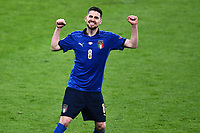 6th July 2021; Wembley Stadium, London, England; Euro 2020 Football Championships semi-final, Italy versus Spain;  Jorginho (Ita) celebrates as he scores the last penalty kick in the penalty shoot-out