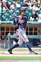 Gwinnett Braves designated hitter Rio Ruiz (14) swings at a pitch during a game against the Charlotte Knights at BB&T Ballpark on May 7, 2017 in Charlotte, North Carolina. The Knights defeated the Braves 7-1. (Tony Farlow/Four Seam Images)