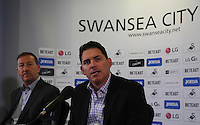 Pictured: Friday 22 July 2016<br />Swansea City Chairman Huw Jenkins (L) and Jason Levien (R), one of the new US owners of Swansea City FC attends a press conference at the Liberty Stadium, Swansea, Wales UK.