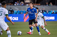SAN JOSE, CA - MAY 15: Carlos Fierro #7 of the San Jose Earthquakes passes the ball during a game between San Jose Earthquakes and Portland Timbers at PayPal Park on May 15, 2021 in San Jose, California.