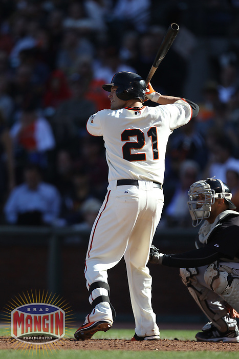 SAN FRANCISCO - JULY 28:  Freddy Sanchez #21 of the San Francisco Giants bats against the Florida Marlins during the game at AT&T Park on July 28, 2010 in San Francisco, California. Photo by Brad Mangin
