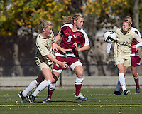 Florida State defender Eirin Kleppa (5) attempts to control the ball as Boston College midfielder Julia Bouchelle (12) defends. Florida State University defeated Boston College, 1-0, at Newton Soccer Field, Newton, MA on October 31, 2010.