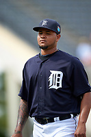 Detroit Tigers pitcher Jairo Labourt (53) walks to the dugout during an exhibition game against the Florida Southern Moccasins on February 29, 2016 at Joker Marchant Stadium in Lakeland, Florida.  Detroit defeated Florida Southern 7-2.  (Mike Janes/Four Seam Images)