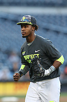 Jaren Shelby (6) of the West team runs from the outfield towards the dugout during the 2015 Perfect Game All-American Classic at Petco Park on August 16, 2015 in San Diego, California. The East squad defeated the West, 3-1. (Larry Goren/Four Seam Images)