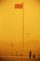 Tiananmen square during a sand storm. When dust storms strike the capital, they turn the sky an amber color and reduce visibility to around a hundred meters. Extensive deforestation and desertification in northern China have fueled the dust storms. Nearly one million tons of Gobi Desert sand blows into Beijing each year. ..LOU / SINOPIX