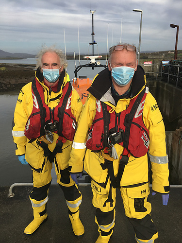Long-serving Baltimore RNLI Coxswain Kieran Cotter and Crewmember Ronnie Carthy on their last call out in October 2020 – photo RNLI/Micheal Cottrell