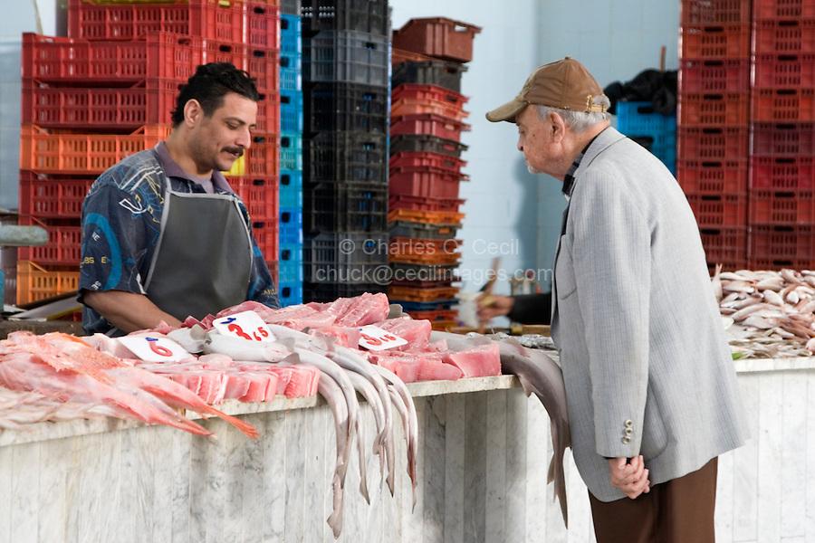 Tripoli, Libya - Examining Fish Before Making a Purchase, Fish Market, Rashid Street