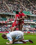 Italy  vs Tunisia during the Cathay Pacific / HSBC Hong Kong Sevens at the Hong Kong Stadium on 28 March 2014 in Hong Kong, China. Photo by Juan Flor / Power Sport Images