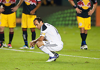 CARSON, CA - November 3, 2011: LA Galaxy midfielder Landon Donovan (10) before the penalty kick he is about to take during the match between LA Galaxy and NY Red Bulls at the Home Depot Center in Carson, California. Final score LA Galaxy 2, NY Red Bulls 1.