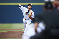 Kannapolis Cannon Ballers starting pitcher Angel Acevedo (30) in action against the Carolina Mudcats at Atrium Health Ballpark on June 9, 2021 in Kannapolis, North Carolina. (Brian Westerholt/Four Seam Images)