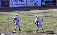 "Ballparks: Stockton, CA. Billy Hebert Field, pre-game. Stockton players in their ""Mudville Nine"" uniforms."