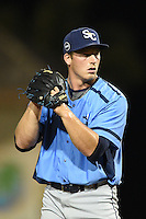 Charlotte Stone Crabs pitcher Brad Schreiber (40) gets ready to deliver a pitch during a game against the Bradenton Marauders on April 22, 2015 at McKechnie Field in Bradenton, Florida.  Bradenton defeated Charlotte 7-6.  (Mike Janes/Four Seam Images)