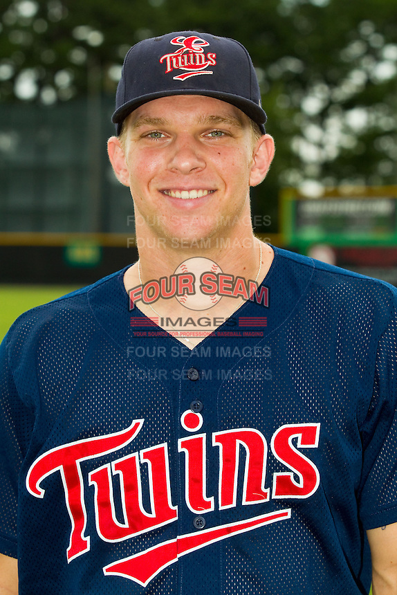 Elizabethton Twins catcher Stuart Turner (31) poses for a photo prior to the game against the Burlington Royals at Burlington Athletic Park on August 10, 2013 in Burlington, North Carolina.  (Brian Westerholt/Four Seam Images)
