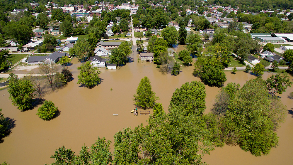 Flooding is pictured looking north along the White River at Cooper's Commons park in Spencer, Indiana on Sunday, May 7, 2017. (Photo by James Brosher)