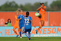 Rosana (11) of Sky Blue FC blocks a ball by Alex Scott (22) of the Boston Breakers. Sky Blue FC and the Boston Breakers played to a 0-0 tie during a Women's Professional Soccer (WPS) match at Yurcak Field in Piscataway, NJ, on May 29, 2010.