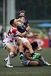 Akihito Yamada of Japan (L) during the Asia Rugby Championship 2017 match between Hong Kong and Japan on May 13, 2017 in Hong Kong, Hong Kong. (Photo by Cris Wong / Power Sport Images)