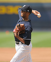 Pitcher D.J. Mitchell (24) of the Scranton/Wilkes-Barre Yankees, International League affiliate of the New York Yankees, prior to a game against the Norfolk Tides on June 20, 2011, at PNC Park in Moosic, Pennsylvania. (Tom Priddy/Four Seam Images)