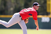 Boston Red Sox minor league player Ryan Pressly #89 during a spring training game vs the Baltimore Orioles at the Buck O'Neil Complex in Sarasota, Florida;  March 22, 2011.  Photo By Mike Janes/Four Seam Images