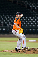AZL Giants relief pitcher Sidney Duprey (61) prepares to make a throw to first base against the AZL Cubs on September 6, 2017 at Sloan Park in Mesa, Arizona. AZL Giants defeated the AZL Cubs 6-5 to even up the Arizona League Championship Series at one game a piece. (Zachary Lucy/Four Seam Images)