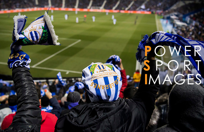 Players of CD Leganes wave the flags and cheer for their team during the Copa del Rey 2017-18 match between CD Leganes and Real Madrid at Estadio Municipal Butarque on 18 January 2018 in Leganes, Spain. Photo by Diego Gonzalez / Power Sport Images