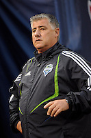 Seattle Sounders head coach Sigi Schmid. The New York Red Bulls  and the Seattle Sounders played to a 1-1 tie during a Major League Soccer match at Giants Stadium in East Rutherford, NJ, on June 20, 2009.