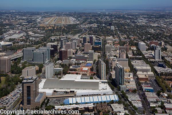 aerial photograph of downtown San Jose, Santa Clara county, California as viewed from the final approach to San Jose International Airport (SJC)