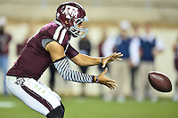Texas A&M quarterback Kenny Hill (7) catches the ball during second half of an NCAA football game, Saturday, October 11, 2014 in College Station, Tex. Ole Miss defeated Texas A&M 35-20. (Mo Khursheed/TFV Media via AP Images)