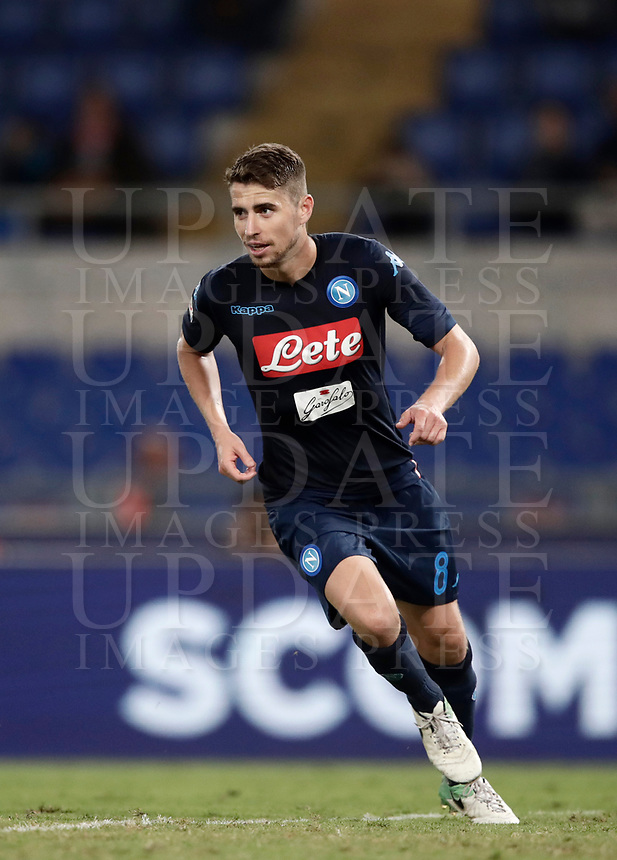 Calcio, Serie A: Roma, stadio Olimpico, 20 settembre 2017.<br /> Napoli's Jorginho celebrates after scoring during the Italian Serie A football match between Lazio and Napoli at Rome's Olympic stadium, September 20, 2017.<br /> UPDATE IMAGES PRESS/Isabella Bonotto