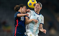 ORLANDO, FL - FEBRUARY 24: Carli Lloyd #10 of the USWNT goes up for a header with Vanesa Santana #5 of Argentina during a game between Argentina and USWNT at Exploria Stadium on February 24, 2021 in Orlando, Florida.