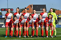 team of Zulte Waregem  pictured during a female soccer game between SV Zulte - Waregem and Oud Heverlee Leuven on the sixth matchday of the 2021 - 2022 season of Belgian Scooore Womens Super League , saturday 9 of October 2021  in Zulte , Belgium . PHOTO SPORTPIX   DIRK VUYLSTEKE