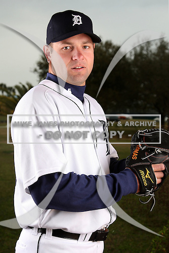February 27, 2010:  Pitcher Brad Thomas (36) of the Detroit Tigers poses for a photo during media day at Joker Marchant Stadium in Lakeland, FL.  Photo By Mike Janes/Four Seam Images