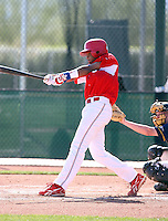 Dawel Lugo #3 of the Dominican Prospect League All-stars plays against the Langley (British Columbia) Blaze in an exhibition game at Surprise Recreational Complex, the Texas Rangers minor league complex, on March 22, 2011 in Surprise, Arizona..Photo by:  Bill Mitchell/Four Seam Images