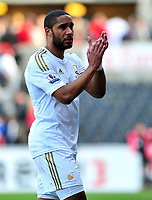 sport...swansea v southampton...liberty stadium...saturday 20th april 2013....<br /> <br /> <br /> Swansea's Ashley Williams applauds the crowd leaving the pitch after drawing to Southampton 0-0