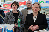 Charlotte George, Green Party parliamentary candidate for Hackney South and Shoreditch, Darren Johnson, Natalie Bennett, Ridley Road market, Dalston, London.