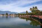 Myanmar, (Burma), Shan State, Kengtung: Colonial era buildings on Naung Tung lake | Myanmar (Birma), Shan Staat, Kengtung: Gebaeude aus der Kolonialzeit am Naung Tung See