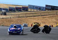 Jul. 27, 2014; Sonoma, CA, USA; NHRA pro stock driver Jason Line after winning the Sonoma Nationals at Sonoma Raceway. Mandatory Credit: Mark J. Rebilas-