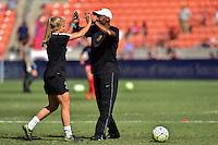 Houston, TX - Sunday Oct. 09, 2016: Makenzy Doniak, Demeris Johnson prior to a National Women's Soccer League (NWSL) Championship match between the Washington Spirit and the Western New York Flash at BBVA Compass Stadium.