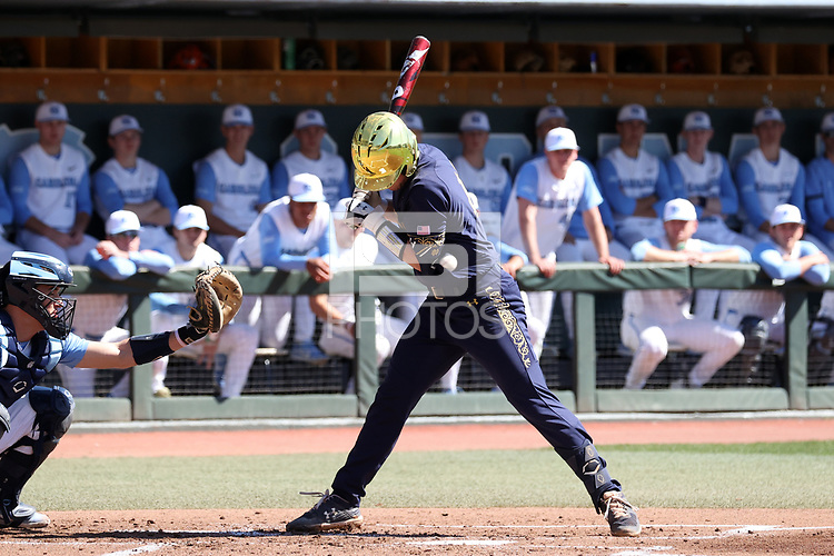 CHAPEL HILL, NC - MARCH 08: Zack Prajzner #42 of the University of Notre Dame is hit by a pitch during a game between Notre Dame and North Carolina at Boshamer Stadium on March 08, 2020 in Chapel Hill, North Carolina.