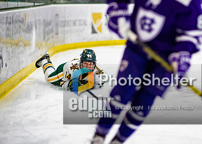 2 February 2020: University of Vermont Catamount Defender Anna Erickson, a Junior from Stillwater, MN, looks forward after falling to the ice in first period action against the Holy Cross Crusaders at Gutterson Fieldhouse in Burlington, Vermont. The Lady Cats rallied in the 3rd period to tie the Crusaders 2-2 in NCAA Women's Hockey East play. Mandatory Credit: Ed Wolfstein Photo *** RAW (NEF) Image File Available ***