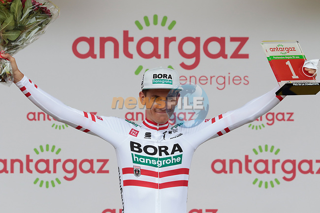 Austrian Champion Patrick Konrad (AUT) Bora-Hansgrohe from the breakaway wins Stage 16 and also the day's combativity prize of the 2021 Tour de France, running 169km from Pas de la Case to Saint-Gaudens, Andorra. 13th July 2021.  <br /> Picture: Colin Flockton   Cyclefile<br /> <br /> All photos usage must carry mandatory copyright credit (© Cyclefile   Colin Flockton)