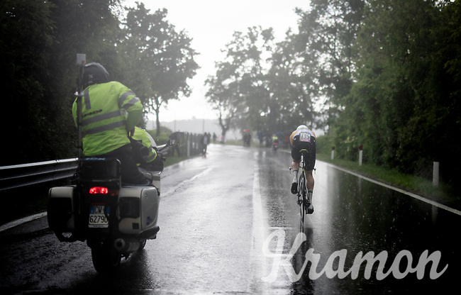 Australian TT Champion Luke Durbridge (AUS/Mitchelton-Scott) rolling in the heavy rain<br /> <br /> Stage 9 (ITT): Riccione to San Marino (34.7km)<br /> 102nd Giro d'Italia 2019<br /> <br /> ©kramon