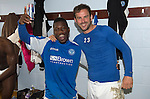 St Johnstone v Motherwell.....19.05.13      SPL.Nigel Hasselbaink and Rowan Vine celebrate in the dressing room .Picture by Graeme Hart..Copyright Perthshire Picture Agency.Tel: 01738 623350  Mobile: 07990 594431