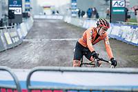 Pim Ronhaar (NED/Pauwels Sauzen-Bingoal) on his way to victory<br /> <br /> UCI 2021 Cyclocross World Championships - Ostend, Belgium<br /> <br /> U23 Men's Race<br /> <br /> ©kramon