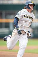 Michigan Wolverines outfielder Jesse Franklin (7) rounds third during Game 11 of the NCAA College World Series against the Texas Tech Red Raiders on June 21, 2019 at TD Ameritrade Park in Omaha, Nebraska. Michigan defeated Texas Tech 15-3 and is headed to the CWS Finals. (Andrew Woolley/Four Seam Images)