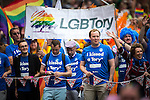 © Joel Goodman - 07973 332324 . 27/08/2016 . Manchester , UK . LGBT Tory including EDWINA CURRIE (far right) . Annual Pride Parade through Manchester City Centre as part of Manchester Gay Pride's Big Weekend . Photo credit : Joel Goodman
