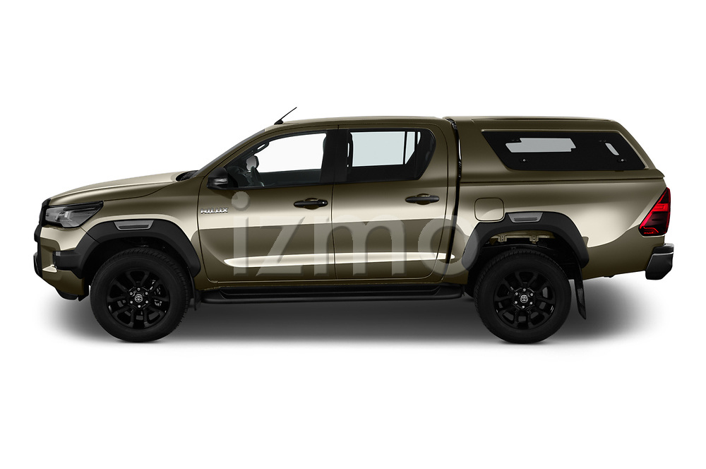 Car Driver side profile view of a 2021 Toyota Hilux Invincible 4 Door Pick-up Side View