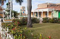 Cuba, Trinidad.  Plaza Mayor.  Tower of the Palacio Cantero in rear center, now the Museo Historico Municipal.
