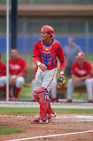 Philadelphia Phillies Rodolfo Duran (10) during a minor league Spring Training game against the Toronto Blue Jays on March 26, 2016 at Englebert Complex in Dunedin, Florida.  (Mike Janes/Four Seam Images)